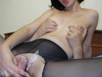Cock-hungry brunette getting splashed with warm cum on her dripping wet cunt.