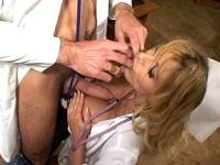 Mature blonde nurse having her tits manhandled
