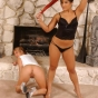 Mistress Erzebet Takes Care Of Her Two Slaves By Making Them Kneel Down And Punishing Them Good