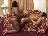 Plump black hotties Nomi and Cheyanne Foxxx flaunt their massive tits and eat each others pussies