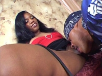 Ebony chick gets her pussy eaten and fucked with a fat black cock