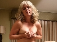 Milf Stacy squeezes her breasts together before having her mature pussy fucked
