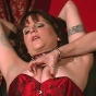 Hot Dominatrix Mistress Erzsebet Harasses Her Busty Submissive By Playing With Her Boobs