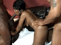 Hot ebony Beauty got cock greedy and took black cock filling in her ass and pussy