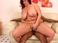 Bbw Peaches stripping off and taking hard cock ramming in her hole by humping on top