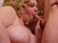Blonde bbw Holly loving a thick cock with her mouth and taking it in her chubby slit