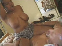 Mega tits brown babe swinging on hard cock