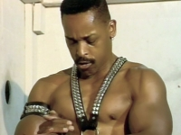 Black gay bodybuilders Toney and Carlton P blowjob through a gloryhole and slam each others butts live
