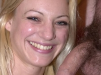 Blonde whore with melon juggies deep sucking unshaved rock-hard penis