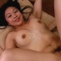 Smooth And Playful Asian Babe Playfully Loving The Sticky Goo Squirted On Her Body