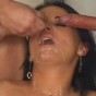 Dark-Haired Pretty Faced Babe Soaked From Sticky Cum From Two Groins