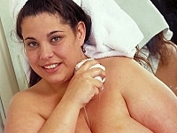 Heavy Plumper Playing and Squeezing Taking a Bath