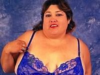cateyed brunette mama in revealing blue undie