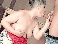 Granny bitch loving a huge cock in her fat furry fanny