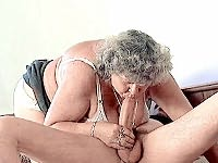 Big titted older babe riding a huge cock on the sofa