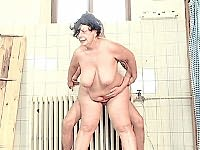 Older fatty having her hairy hole drilled by gorgeous tattoed guy