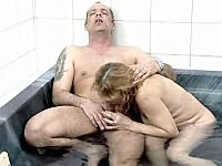 Horny mature plumper fucking in the bath tub