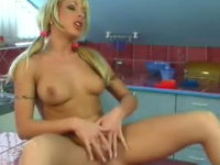teen blonde gets it on the counter
